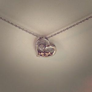 Jewelry - Silver-gold plating Diamond Mom Heart pendant